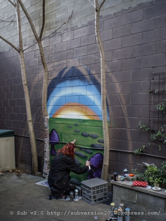 Bec's mural starting to take shape at By Basia